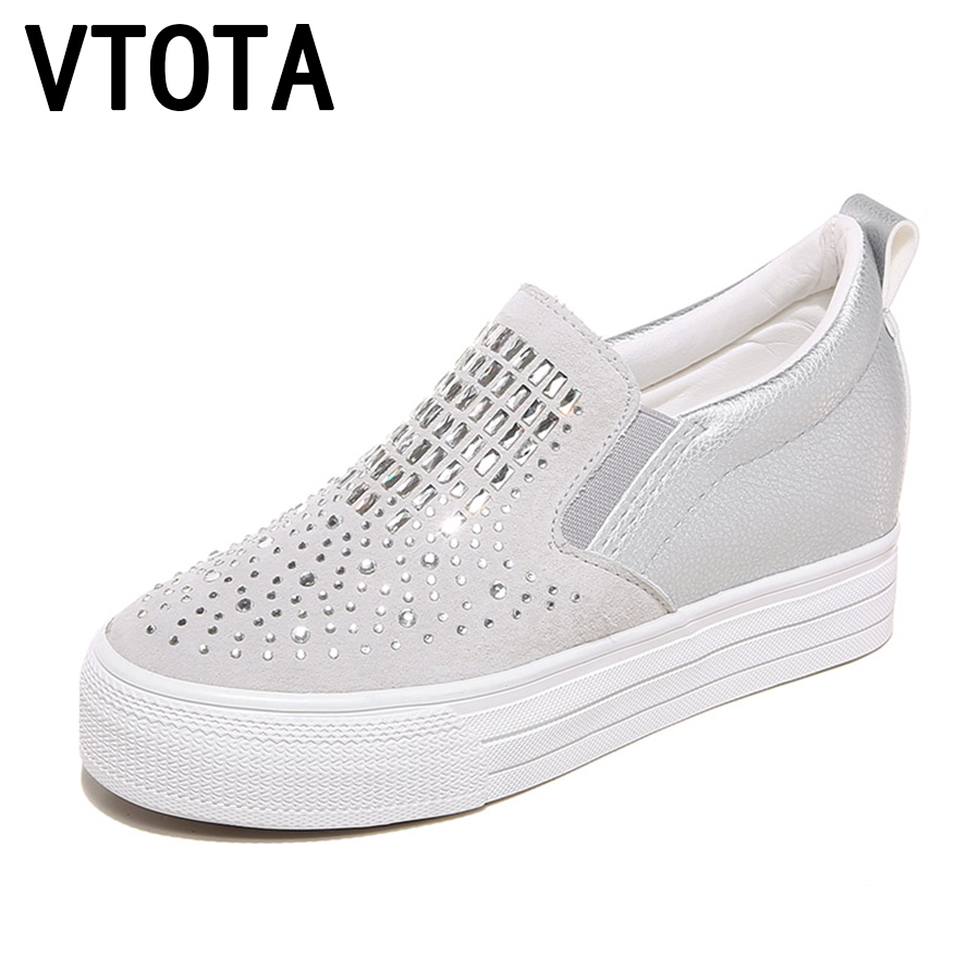 VTOTA Genuine Leather Casual Platform Shoes Woman Spring Crystal Slip On Shoes For Women zapatos mujer High Heels Pumps F65 idg brand women slip on high heels short rough with the fall and winter metal buckle rivets shoes woman zapatos mujer tacon