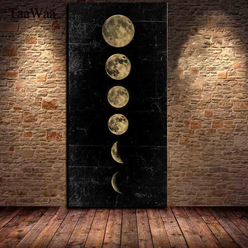 TAAWAA ビッグサイズ日食月壁アート画像ミニマリストキャンバスポスター印刷宇宙ロングバナーアートの絵画ホーム装飾