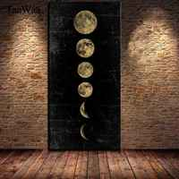 TAAWAA Big Size Eclipse of The Moon Wall Art Picture Minimalist Canvas Poster Print Universe Long Banner Art Painting Home Decor