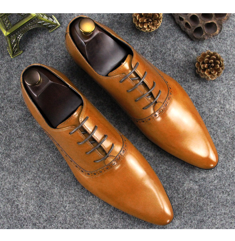 Pointed Toe Men Italian Derby Oxfords Shoes Lace up Yellow Black Wine Spring Autumn Runway Fashion Wedding Dress Oxfords Shoes