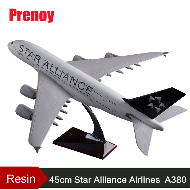 45cm Resin A380 Aircraft Model Star Alliance Airlines Airplane Model Airbus Airways Model A380 Aviation Creative Gift Decoration wings xx2587 tyrolean spike airways jc oe lgc q4 star alliance 1 200 commercial jetliners plane model hobby