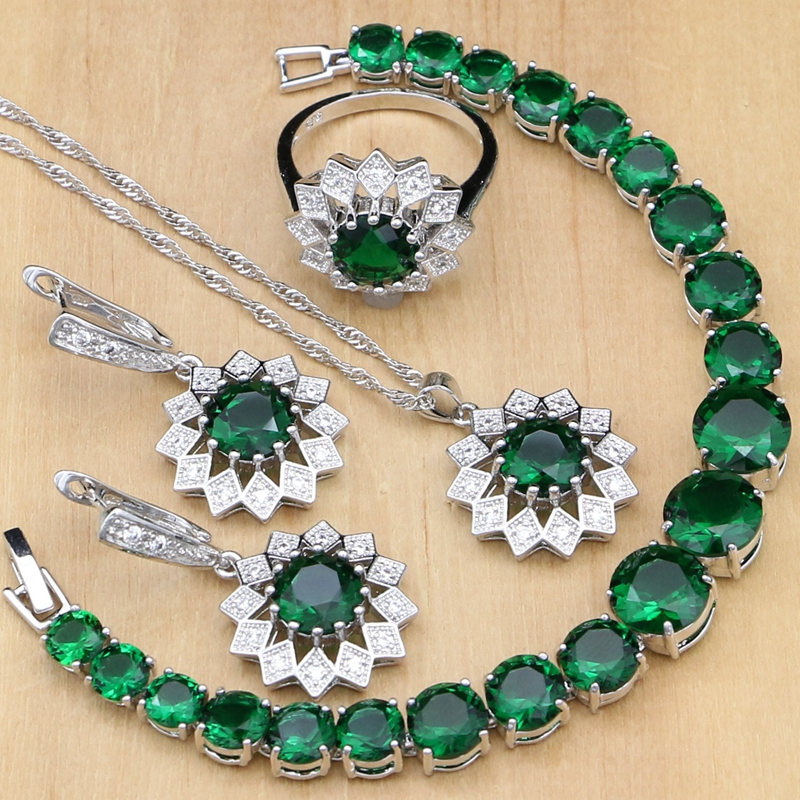 Natural 925 Sterling Silver Jewelry Sets Green Zircon White Stone Costume For Women Earrings/Pendant/Necklace/Rings/Bracelet