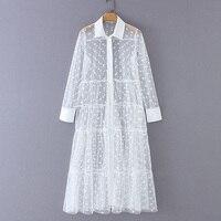 Женское стильное лоскутное прозрачное миди платье-рубашка в горошек с длинным рукавом женские шикарные сексуальные сетчатые Платья Vestidos