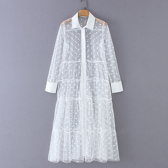 Women Stylish Polka Dot Patchwork Transparent Midi Shirt Dress Long Sleeve Female Chic Sexy Mesh Dresses Vestidos