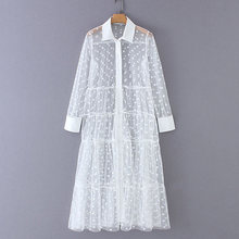 Women Stylish Polka Dot Patchwork Transparent Midi Shirt Dress Long Sleeve Female Chic Sexy Mesh Dresses Vestidos(China)