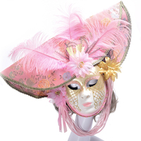 Women Girl Venice Masks Masquerade Full Face Mask Carnival Halloween Cosplay Costume Supplies Venetian with Flower Hand Painted