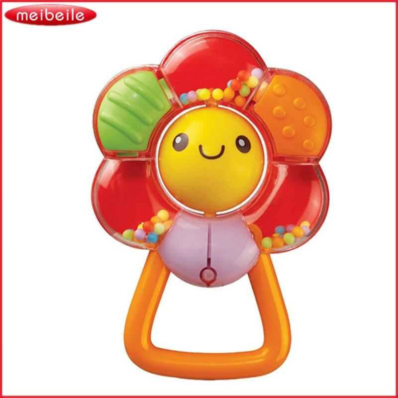 Plástico Girasol Sonriente Sonajero Multifuncional Dispositivo BB Anillo de Desa
