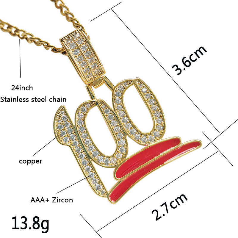 Iced Out Bling 100 Emoji Pendant Rock Number 100 Micro Paved