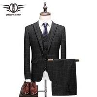 Plyesxale модный бренд мужской костюм 2018 Классические 3 предмета Для мужчин свадебные Жених костюмы Slim Fit Для мужчин s клетчатые костюмы куртка б