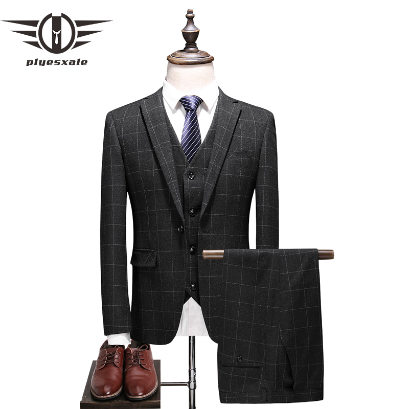Plyesxale Brand Fashion Men Suit 2018 Classic 3 Piece Men's Wedding Groom Suits Slim Fit Mens Plaid Suits Jacket Pants Vest Q388