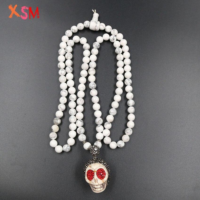 XSM crâne cristal strass pendentif sautoir à la main noué blanc Howlite 108 Mala perles Halloween Tribal bijoux