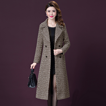 2019 Autumn Winter Medium Long Wool Coat Women Fashion Turn Down Collar Double Breasted Plaid Wool Overcoat Elegant Outerwear