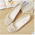 Lady's big size11 12 flowers breathable mesh sweet soft leather round toe platform thin shoes women summer style pink white
