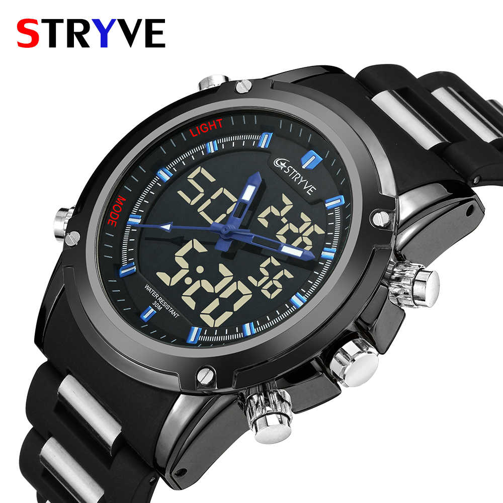 Stryve Brand New Men's Military 30m Waterproof Dual Display Quartz Digital Led watch Men Luxury Sports Watches montre homme
