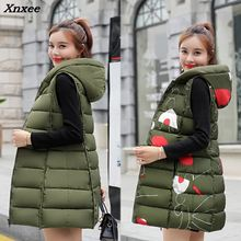 2018 warm winter jacket women Sleeveless down cotton coat Long zipper vest plus size fashion waistcoat Female Parkas Xnxee