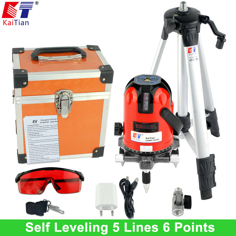 KaiTian Laser Level Tripod with Tilt Function 360 Rotary Self Leveling Outdoor Euro Plug 635nM 5 Lines 6 Points Cross Line Level xeast xe 50r new arrival 5 lines 6 points laser level 360 rotary cross lazer line leveling with tilt function