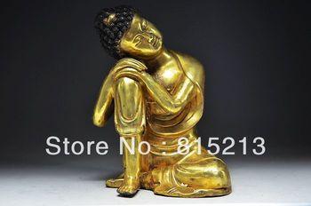 bi0084 Real Bronze Gilding Chinese Antique Sleeping Buddha Statue