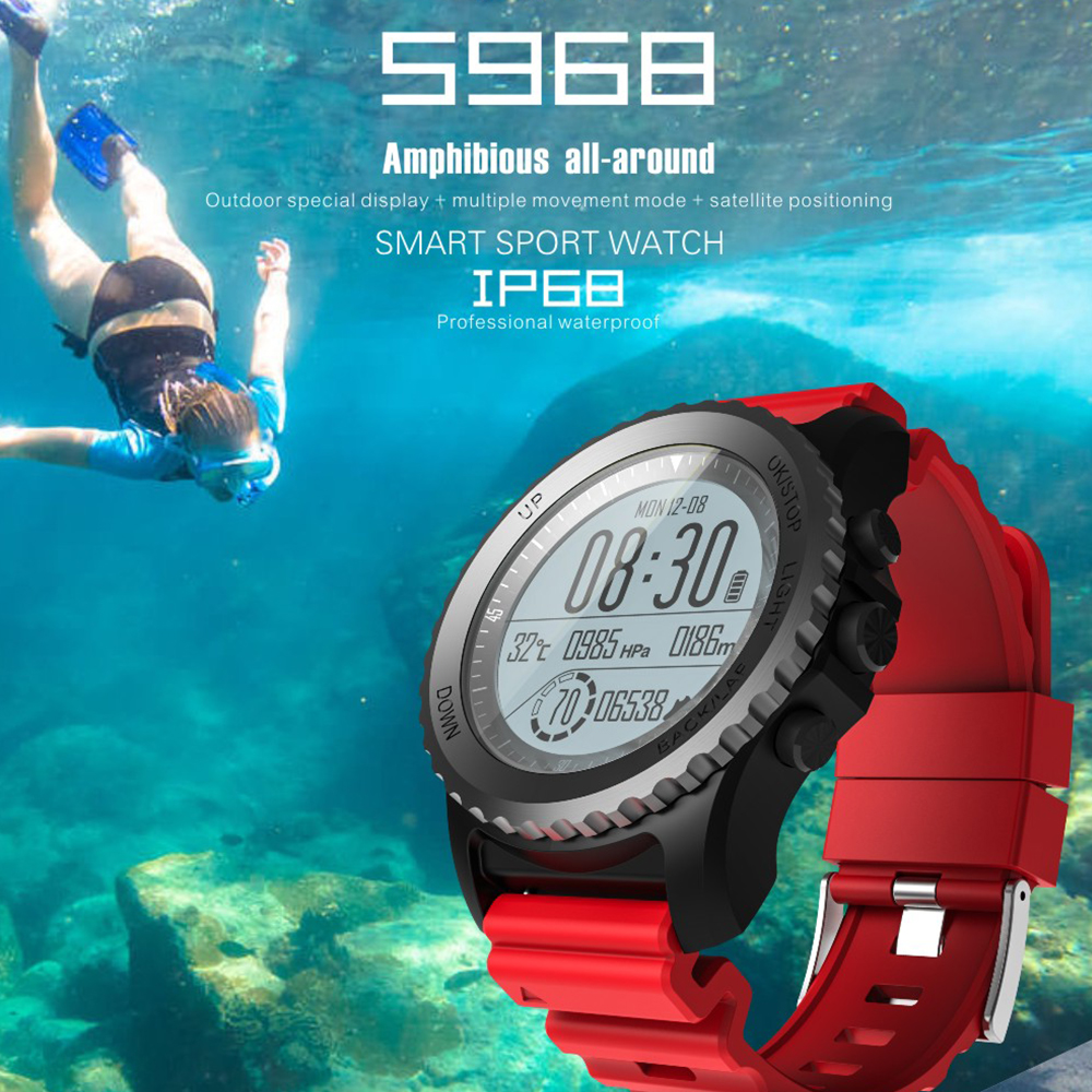 цены S968 Smart Watch IP68 Waterproof Support Air Pressure GPS Heart Rate Monitor Bluetooth Smart Bracelet Fitness Tracker Wristband