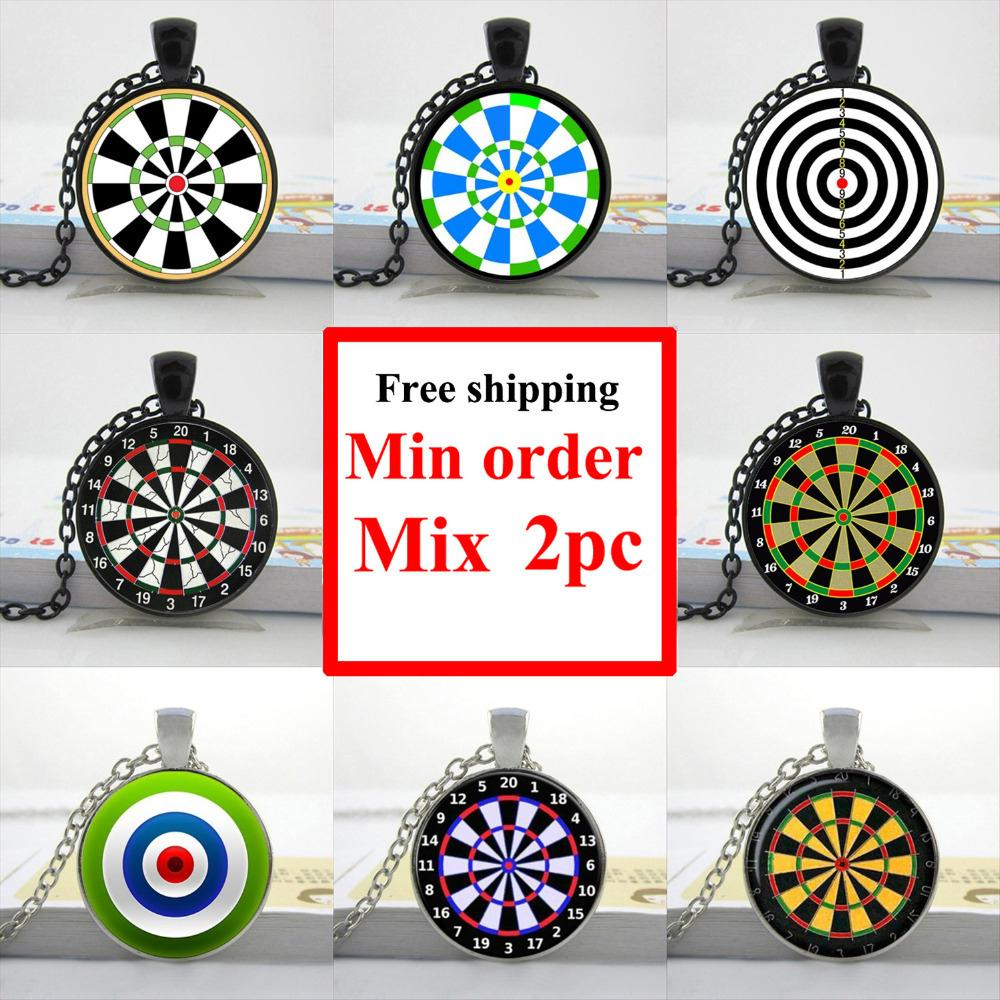 HZShinling 2018 Dart Necklace Dart Pendant Dart Jewelry Round Glass Target Necklace Personalized Picture Necklace HZ1