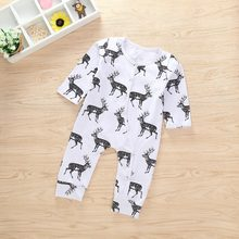 100% Brand New Cute Baby Boy Girl Long sleeve deer Romper Newborn Baby Soft Cotton Casual Jumpsuit Outfits Clothes Set 0-24M(China)
