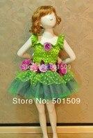 Free Shipping Fairy Tale Glitter Green Floral Tutu Princess Costume Ballet Dance Dress Fairy Tale Dress