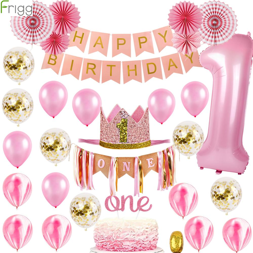 1st Birthday Decorations Girl Baby Shower Pink Balloons One year Happy Party Banner My Decoration For