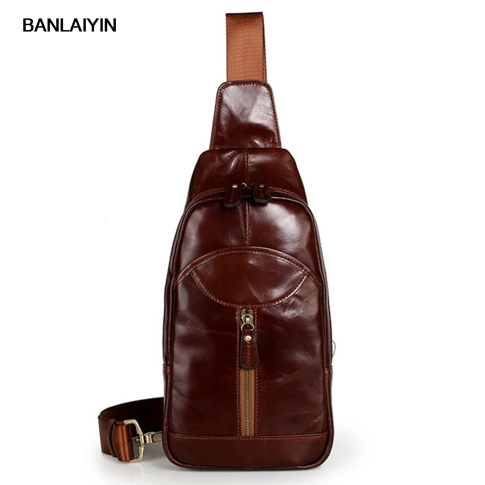 Men Genuine Leather First Layer Cowhide Sling Chest Bag Retro Messenger Shoulder Bag Travel Male Tourism Pack Cross Body Bags anime shingeki no kyojin shoulder bag attack on titan sling pack school bags messenger bag travel male men s bag