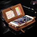 Floveme 6 s plus 7 mais couro caso bolsa carteira para apple iphone 6 6 S 6 6 S Plus 7 7 Plus Suporte Retro Anel de Metal Tampa Do Telefone