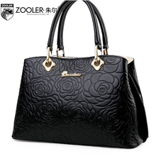 ZOOLER women genuine leather bag brands fashion Embossed top quality Head layer cowhide women handbags shoulder messenger bag