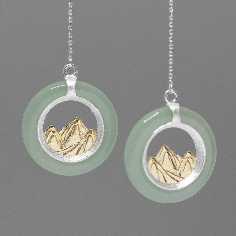 CMAJOR à la main 925 en argent Sterling naturel vert Jade montagne incrusté boucles d'oreilles Vintage Original bijoux fins en gros