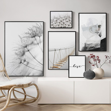 Dandelion Plant Bridge Abstract Landscape Wall Art Canvas Painting Nordic Posters And Prints Pictures For Living Room Decor