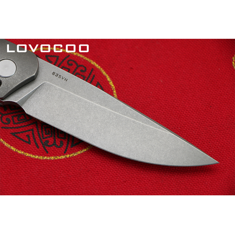 LOVOCOO Flying Shark Flipper folding knife S35VN blade Titanium handle Hidden open Outdoor camping hunting Gift knives EDC tools-in Knives from Tools    3