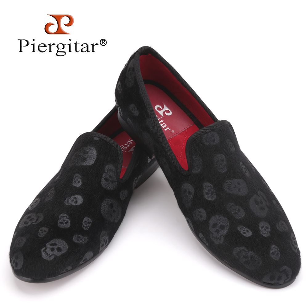 2018 New Style Horsehair Skull Embossed Velvet Men Shoes Party and Prom Men Loafers Smoking Slipper Men Flats Size US 4-17 flower lattice velvet fabric men shoes men smoking slipper prom and banquet male loafers men flats size us 4 17 free shipping