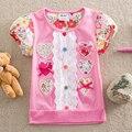 Varejo! NEAT 2014 novas crianças transporte livre t-shirts Camisetas flor do bebê meninas lace manga curta roupa desgaste dos miúdos 1-6A S2152