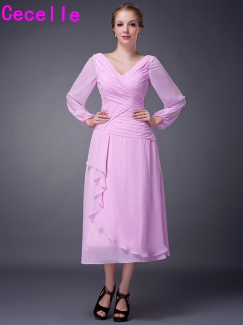 Pink Tea Length A Line Chiffon Long Sleeves Mother Of The Bride