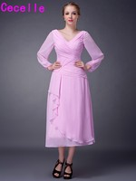Pink Tea Length A line Chiffon Long Sleeves Mother Of The Bride Dresses V Neck Ruched Plus Size Dresses For Mother of Bride 2017