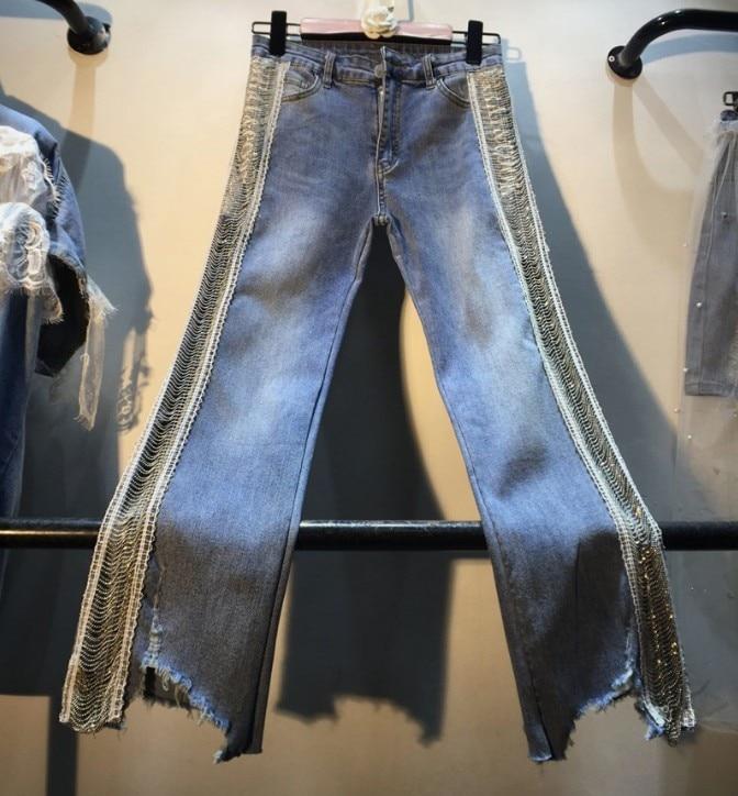 Fashion Jeans Women 2019 European New Spring Side Beaded Chain High Waist Jeans Lady Trousers High Street Slim Denim Pants