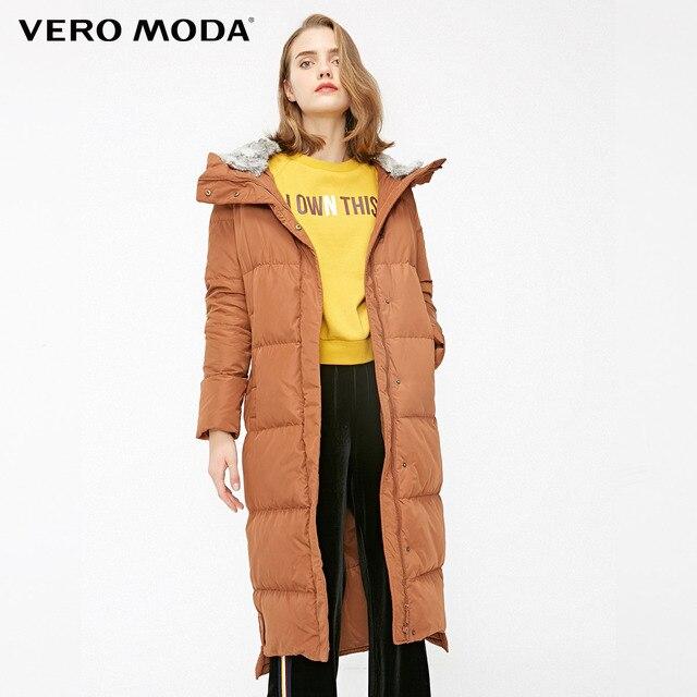 Vero Moda new detachable rabbit fur hooded long down jacket women   318312503