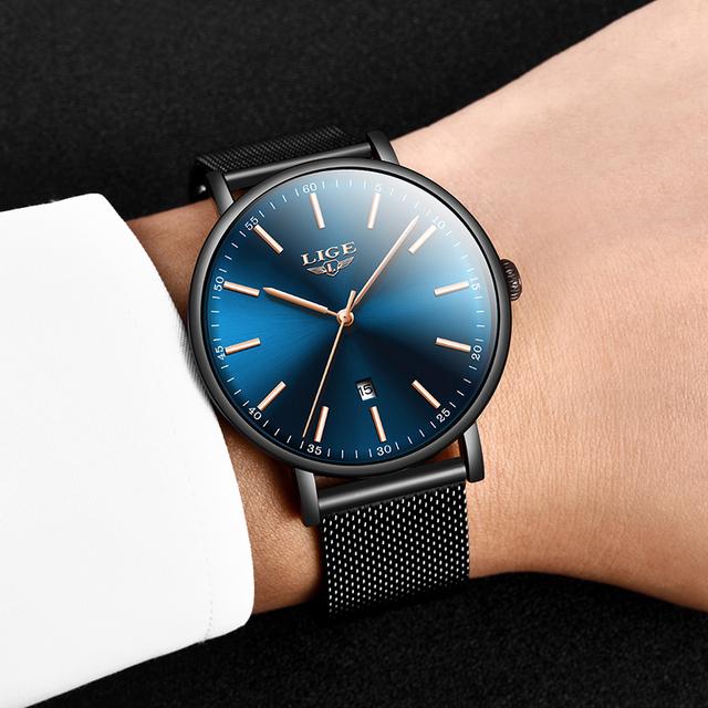 LIGE Gold Blue Watch Women Quartz Wristwatches Fashion Slim Ladies Top Brand Luxury Female Watches Girl Clock Relogio Feminino