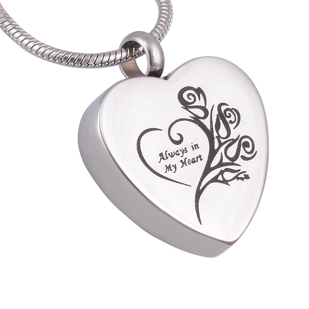 Stainless Steel Always In My Heart Cremation Jewelry Ashes Urn Necklace Personalized Funeral Jewelry Free Engraving