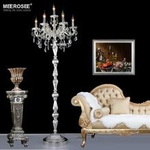 цена на Modern Crystal Floor Lamp Lustres Floor Stand Light Fixture Cristal Silver Candelabra Standing Lamp High Quality Lighting