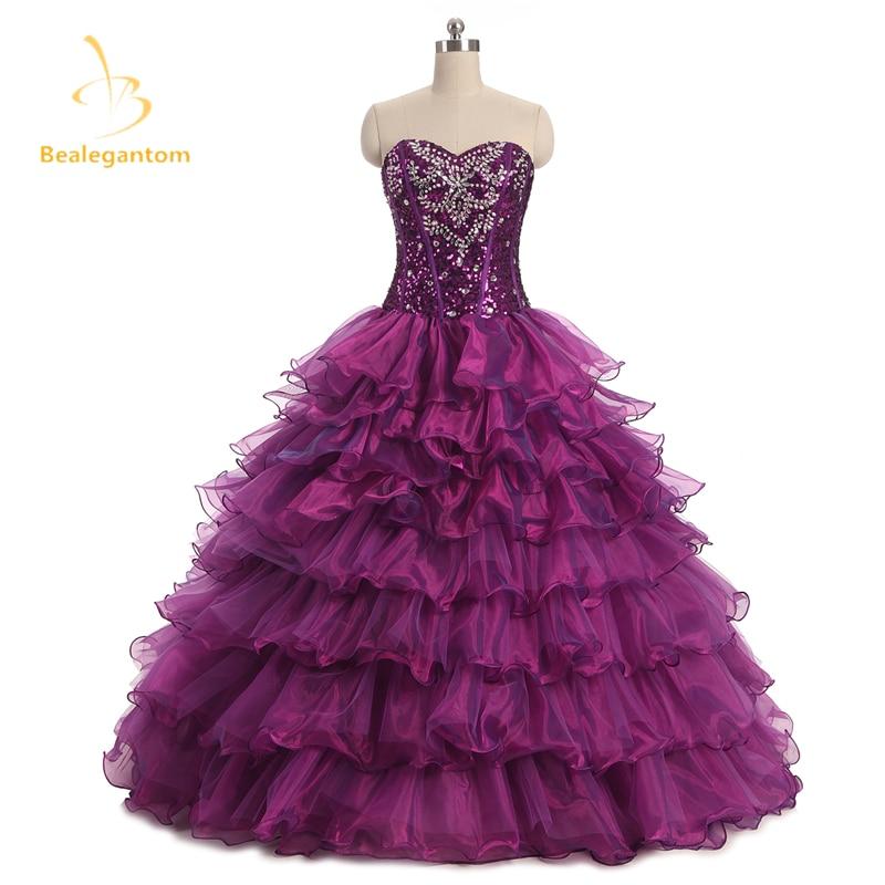 2018 새로운 섹시 구슬 퍼플 Quinceanera 드레스 볼 가운 15 년간 파티 드레스 Vestido De 15 Anos 재고 있음 QA511
