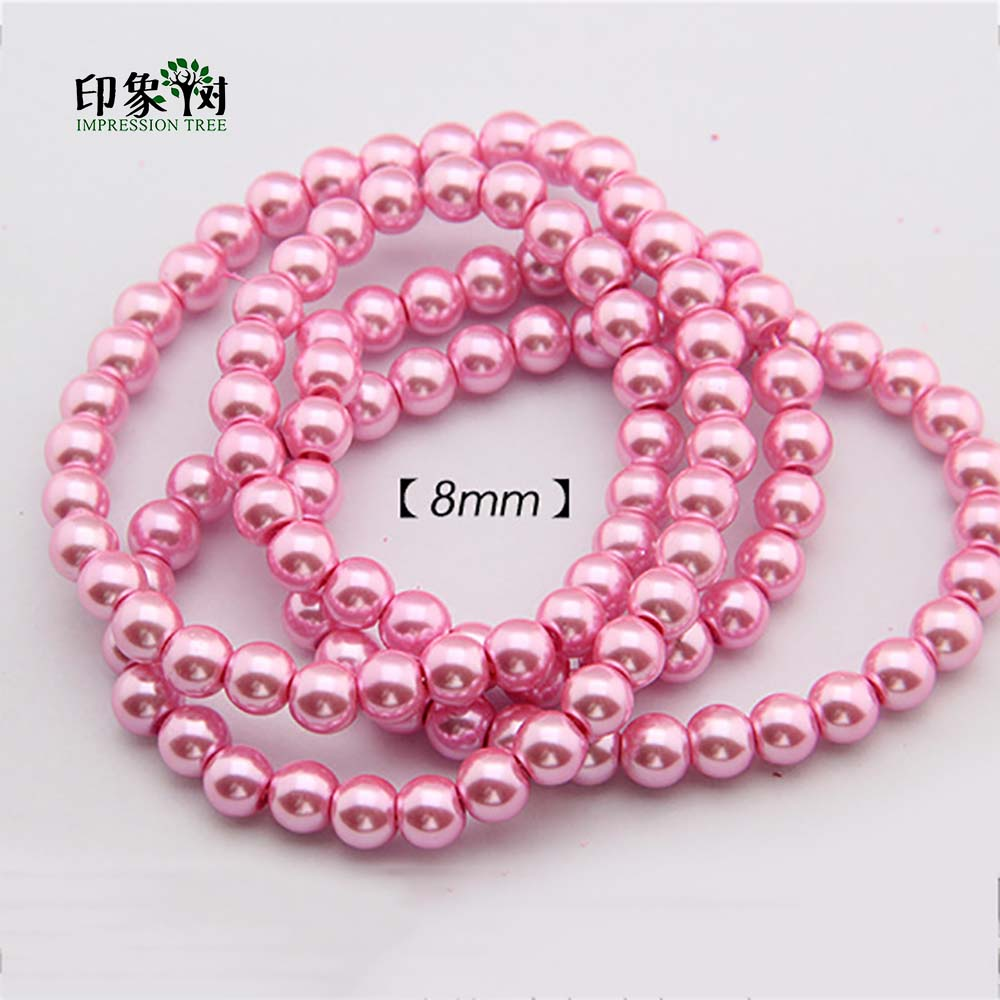 все цены на 8/10/12mm Pick Size Pink Imitation Pearl Round Bead Pink Glass Round Loose Bead For DIY Necklace Bracelet Jewelry Making 2210 онлайн