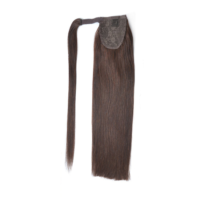 ALI-BEAUTY Human Hair Ponytail European Straight Hair Extensions 120gram Wrap Around Clip In Pony Tail Remy Hair 12-26 Inches 1
