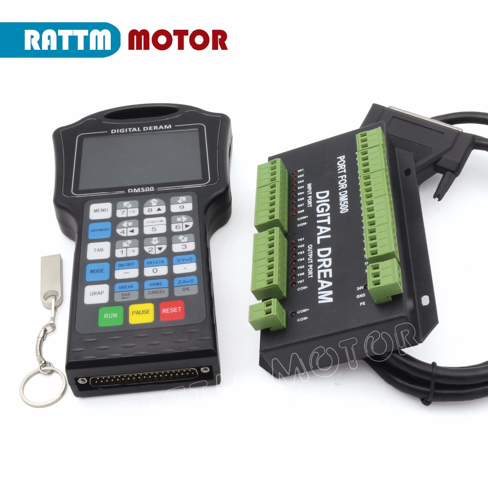 DM500 3 Axis / 4 Axis 500Khz Handwheel Motion Controller Support G-code For Engraving Machine replace DSP A11E 23 Users keysDM500 3 Axis / 4 Axis 500Khz Handwheel Motion Controller Support G-code For Engraving Machine replace DSP A11E 23 Users keys