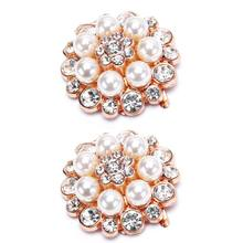 2 Pcs/Set Unique Pearl Rhinestone Floral Shoe Clip Decoration DIY High Heel Sandals Charms Luxury Ornament(China)