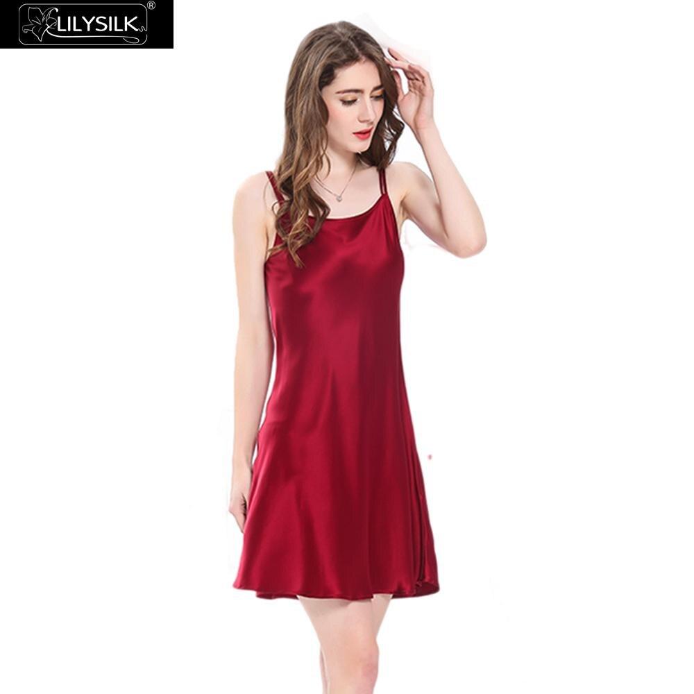 c0c43ff78349f LilySilk Nightgown Women Night Dress Sleepwear Girls Mini Pure 100 Silk 16  momme Scoop Neck Women's Clothing Free Shipping-in Nightgowns & Sleepshirts  from ...