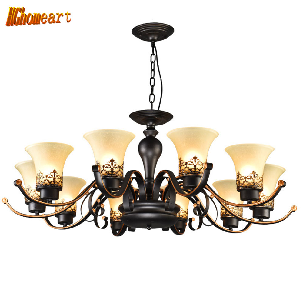 HGhomeart Chandelier American restaurant lights European-style bedroom ceiling lamp retro living room chandelier hotel lights hghomeart chandelier european style copper chandelier living room chandelier lighting bedroom restaurant retro chandelier