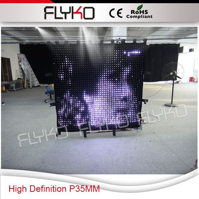 Free shipping 1.6x1.4m P3.5CM Flykostage party city high definition p35mm led video curtain