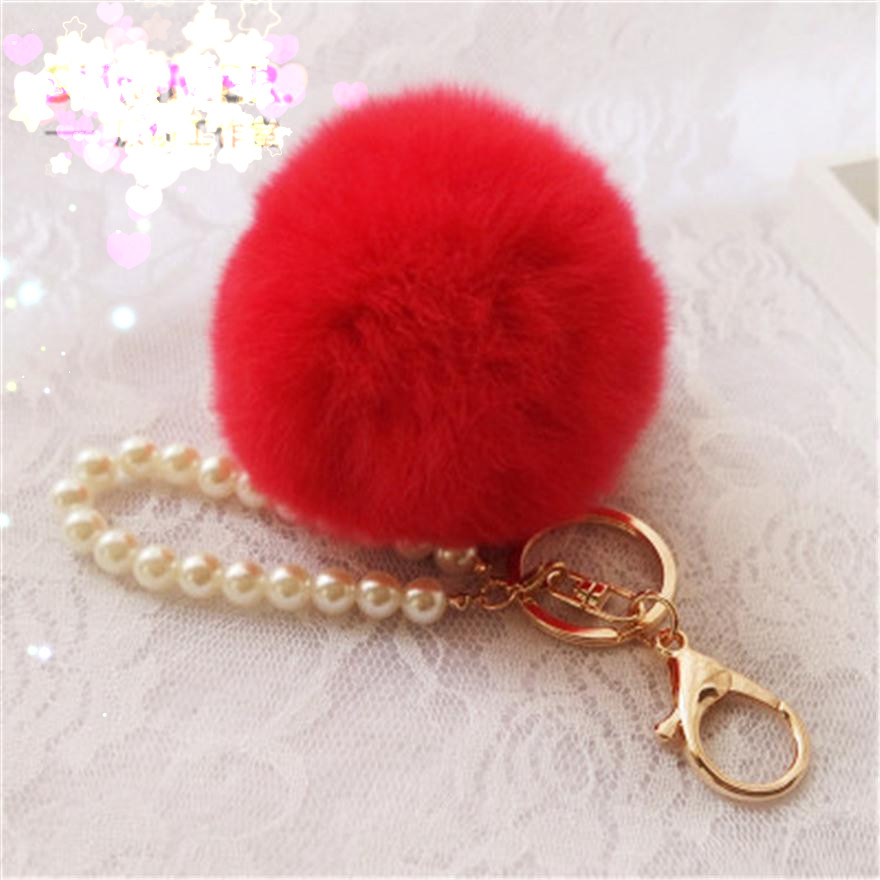 Fluffy Pompon Faux Rabbit Fur Ball Pom Pom Keychain Trinket Women Bag Pearl Charm Key Chain Ring Gold Keyring Jewelry Party Gift in Key Chains from Jewelry Accessories